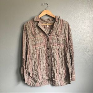 Free People Beach Stripe Wooden Button Down Top